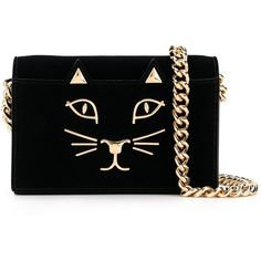 Charlotte Olympia 'Feline' shoulder bag ($1,005) ❤ liked on Polyvore featuring bags, handbags, shoulder bags, black, chain strap handbag, shoulder bag purse, chain shoulder bag, charlotte olympia handbags and velvet handbag