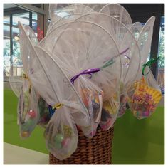 Butterfly net treat bags for a bug themed birthday party
