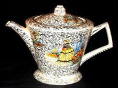 VINTAGE China ART DECO Teapot CRINOLINE LADY Gold Floral Chintz WINTERTON Retro