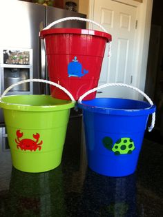 Childrens sand bucket Personalized by Etchedgifts on Etsy, $8.00