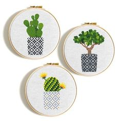 Cactus cross stitch Pattern PDF Modern cross stitch set 3 Succulent Floral cross stitch chart Flower Easy cross stitch P Cactus Cross Stitch, Simple Cross Stitch, Modern Cross Stitch, Cross Stitch Flowers, Easy Cross, Embroidery Sampler, Cross Stitch Embroidery, Embroidery Patterns, Diy Embroidery