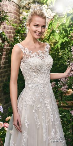 Rebecca Ingram 2017 bridal sleeveless lace strap illusion scoop sweetheart neckline heavily embellished bodice romantic modified a  line wedding dress lace back sweep train (alexis) mv