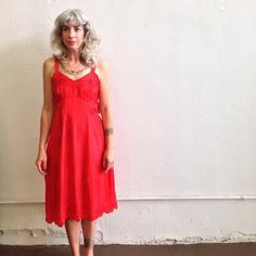 1950s red rayon embroidered & scalloped-edge slip from Le Saispas Vintage at Hoot+Louise 109 GE Patterson in Downtown Memphis or www.hootandlouise.bigcartel.com