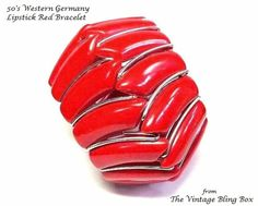 50s Western Germany Lipstick Red Bracelet by TheVintageBlingBox
