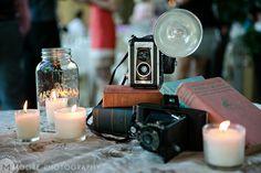 Vintage camera vignette, wedding decor on the guest book table
