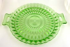 and vintage glass cake plates Green Cake, Plate Stands, My Glass, Cake Plates, Vintage Glassware, Kitchenware, Flower Designs, Pink And Green, Depression