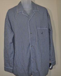NWT Nautica Blue Striped Button Down Pajama Night Shirt Men's Large L $32 #Nautica #Nightshirt