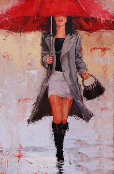 Big Red Painting by Laura Lee Zanghetti - Big Red Fine Art Prints and Posters for Sale Umbrella Painting, Umbrella Art, Umbrella Wreath, Ladies Umbrella, Rain Art, Easy Canvas Painting, Walking In The Rain, Laura Lee, Portrait Art