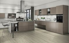 Create your kitchen by using Shorewood melamine and White Marble worktop, all by Egger Small White Kitchens, Brown Kitchens, Home Kitchens, Modern Kitchens, Sims 4 Kitchen, Kitchen On A Budget, Kitchen Ideas, Dinner Sets, Dinnerware Sets