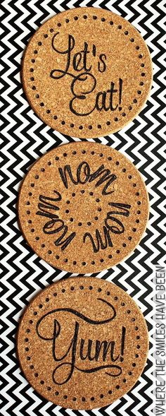 DIY Burned IKEA Cork Trivets: Cheap & Easy IKEA Hack! | Where The Smiles Have Been.  Who knew using a wood burner was so versatile and easy??  This opens up so many possibilities, especially for DIY gift ideas!