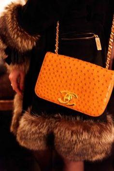 Chanel Orange Ostrich Handbag