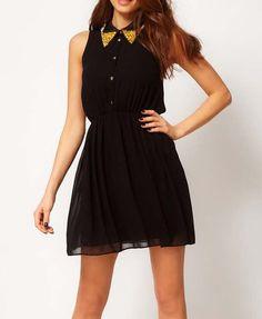 Black Sleeveless Chiffon Dress