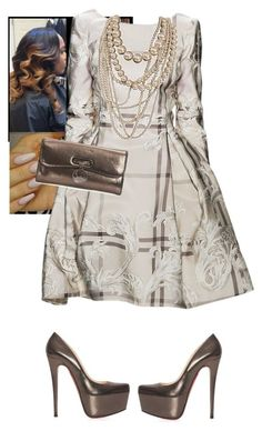 """""""Church Time!!"""" by cogic-fashion ❤ liked on Polyvore featuring Christian Louboutin, Dennis Basso and Sonix"""