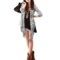 Allegra K Woman Long Sleeve Zebra Print Open Front Shirt Top Black White S Allegra K. $9.24