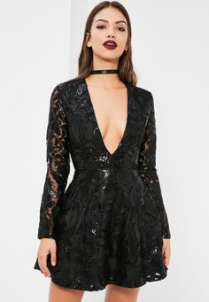 Missguided - Black Sequin Plunge Long Sleeve Skater Dress