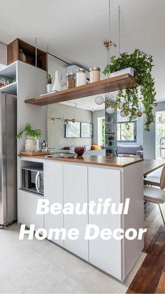 Kitchen Room Design, Modern Kitchen Design, Living Room Kitchen, Home Decor Kitchen, Interior Design Living Room, Home Kitchens, Kitchen Ideas, Kitchen Trends, Closed Kitchen Design