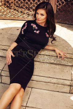 StarShinerS Brodata Oasis Black Dress
