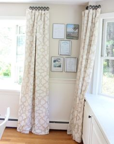 Stenciled drop cloth curtains. Good tips in this post,                                                                                                                                                      More