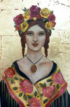 The Shawl Lena by Loetitia Pillault art Gouache, Happy Women, French Artists, Various Artists, Oeuvre D'art, Portraits, Painting Inspiration, Vintage Photos, Whimsical