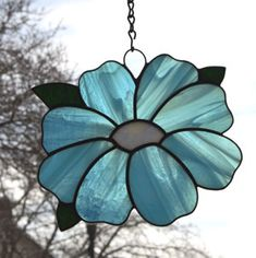 Stained Glass Blue Flower Suncatcher by zelma Stained Glass Angel, Stained Glass Ornaments, Making Stained Glass, Stained Glass Suncatchers, Stained Glass Flowers, Faux Stained Glass, Stained Glass Designs, Stained Glass Projects, Stained Glass Patterns