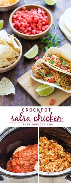 Crockpot Salsa Chicken - Just 2 ingredients in your slow cooker for the easiest and BEST Mexican shredded chicken!