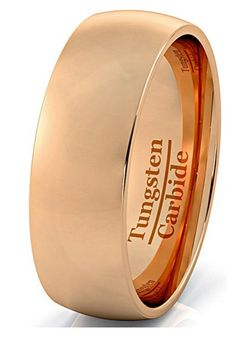 8mm 18k Rose Gold Plated Polish Comfort Fit Domed Tungsten Carbide Ring Wedding Band