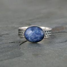 Blue Planet Sodalite Sterling Silver Ring Denim Blue by KiraFerrer