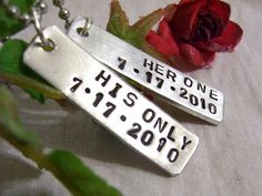 Her one his only couples hand stamped by glamgirlspretties on Etsy, $32.00