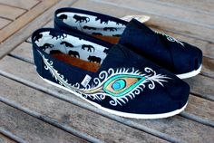 Custom hand painted peacock toms shoes by BStreetShoes on Etsy, $139.00