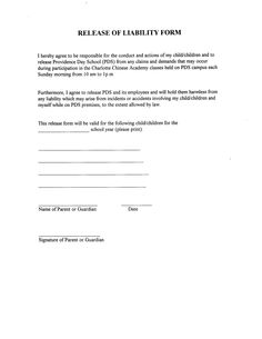 Liability Release Form Template In Images   Release Of Liability Sample