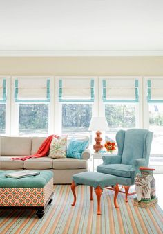 Attractive Blue Chair and Brown Sofa Sets with Colorful Rugs in Small Living Room Decorating Ideas Small Living Room Decorating Ideas with Ultimate Wall Designs