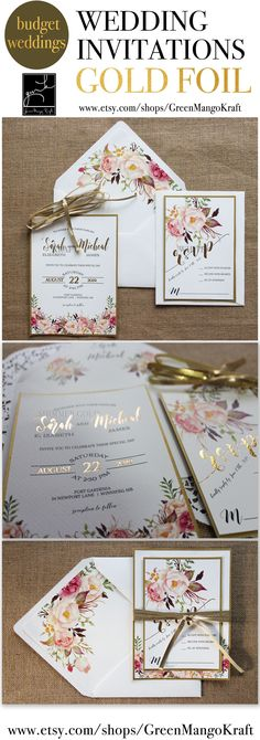 GOLD FOIL WEDDING INVITATIONS Rustic Wedding Invitation Suite Blush pink watercolor floral invite Bohemian Invite Set Floral Kraft liner Boho Chic GOLD foil invites romantic floral invitations trending fall wedding