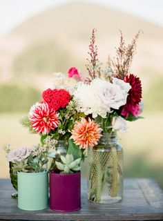 Pretty wildflowers - perfect centerpiece for a rustic soiree. Photo by Ryan Ray Photography. www.wedsociety.com #wedding #centerpiece