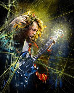 Rock Musicians Art - Angus Young by Miki De Goodaboom Angus Young, Music Artwork, Art Music, Ac Dc, Bon Scott, Easy Guitar, Cool Rocks, Star Art, Rock Art