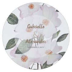 White Roses Botanical Illustration Wedding Round Paper Coaster - watercolor gifts style unique ideas diy