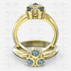 Glorious Custom made Zelda Ocarina Hyrule Warrior inspired ring with Natural Sapphire stones / or Gold made to order