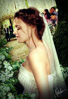 I always wanted to make a wedding scene manipulation but I never found a perfect dress for Bella (because [SPOILER] her wedding dress is going to have l. Bella And Edward Wedding, Bella Y Edward, Bella Wedding Dress, Wedding Dresses, Bella Swan Aesthetic, Robert Pattinson Twilight, Twilight Saga Series, Wedding Scene, Twilight Wedding