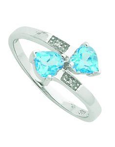 CuTe Light Swiss Blue Topaz and Diamond Heart Ring