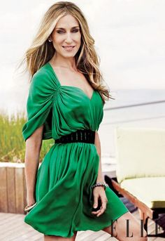 Sarah Jessica Parker in Kelly Green. Reminds us of a kelly green accented room where we hung a  @Crystorama Lighting Solaris Chandelier.