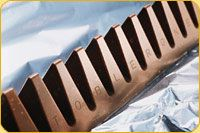 The Toblerone chocolate bar, with it's distinctive shape, can be found ranging in size from a mini to comically large.  However it comes, the chocolate is deliciously smooth and melty.   And we love the added texture and chew of the honey, almond nougat.