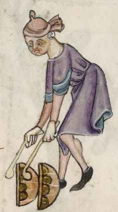 Detail from The Luttrell Psalter, British Library Add MS 42130 (medieval manuscript,1325-1340), f59r