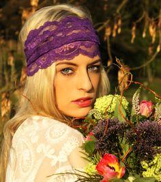 Boho Haarband aus Spitze in violett Hippie Hair, Hippie Boho, Boho Headband, Boho Accessories, Hair Styles, Purple Lace, Vintage, Heart, Fashion