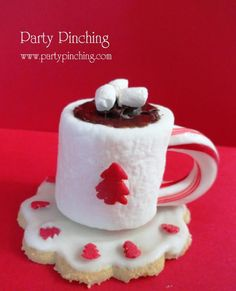 Christmas tea party...marshmallow, piece of candy cane for handle...chocolate sauce and mini marshamallows...so easy