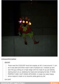 the Skull Kid (from the Legend of Zelda: Majora's Mask)i am sooo going to do this now The Legend Of Zelda, Legend Of Zelda Memes, Legend Of Zelda Breath, Amazing Cosplay, Best Cosplay, Geeks, Mononoke Cosplay, Majora Mask, Excuse Moi