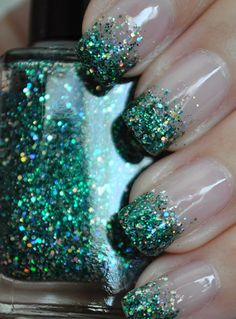green glitter tips. I can do this with my red and silver