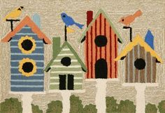 Liora Manne Frontporch 1441/44 Birdhouses Multi Area Rug 20 Inches X 30 Inches