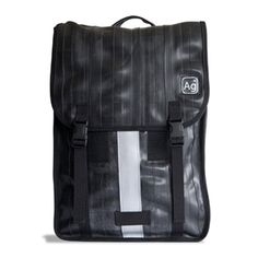 """Madison Slim Backpack is a petite commuter backpack with a 13"""" laptop sleeve. Made from recycled rubber inner tubes and seat belts."""