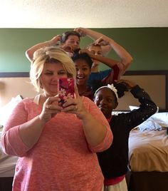 All of us sharing one mirror!
