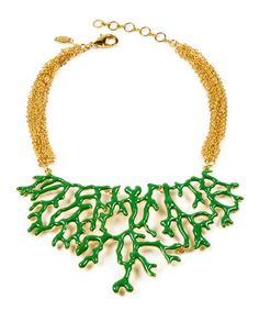 Another great find on #zulily! Gold & Evergreen Coral Branch Bib Necklace by Amrita Singh #zulilyfinds