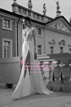 Free Shipping 2014 Sexy A-line V-neck Open Back Silt Appliques Chiffon White Prom Dresses Lace Long Sleeves Lace Evening Gowns